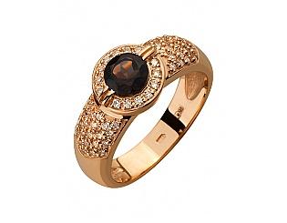Золотое кольцо с циркониями и кварцами 1б_к-050 фотография