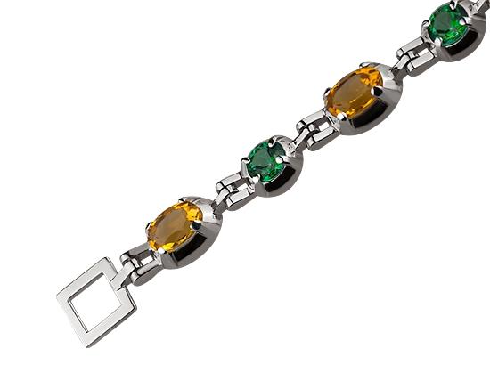 Золотий браслет з цитрином і топазом 2б-026 фотографія 2