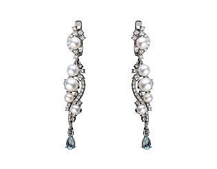 Золоті сережки з діамантами і топазом і перлинами 2б_с-151 фотографія