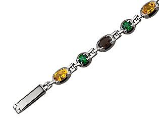 Золотой браслет с топазом и цитрином и кварцем 2б-026 фотография