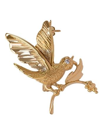 Золота брошка з цирконіями 1-бр-25 фотографія