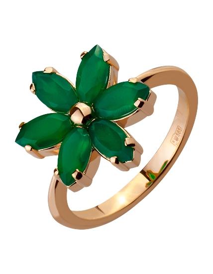 Золотое кольцо с ониксом 1к-261 фотография 1