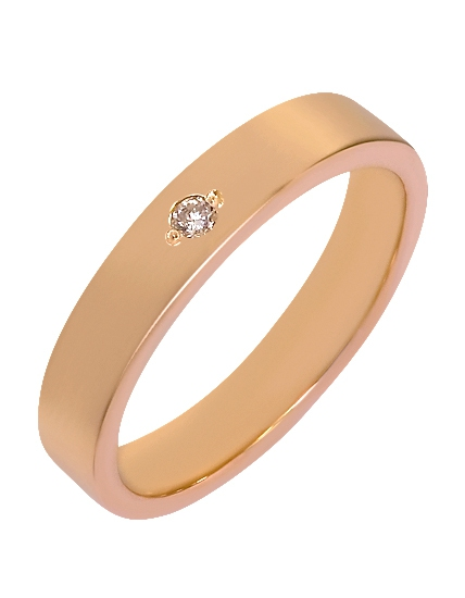 """Золотое обручальное кольцо 585 пробы с бриллиантом (15-000069052) """"Ювелирная карта"""""""