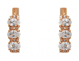 Золоті сережки з фіанітами 1с-149 фотографія