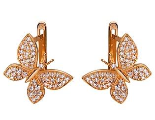 Золоті сережки з цирконіями 01-17520217 фотографія