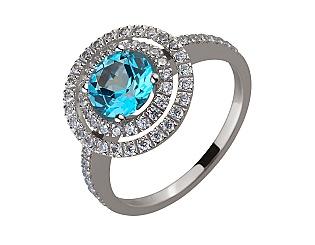 Золотое кольцо с фианитом и топазом 2б_к-187 фотография