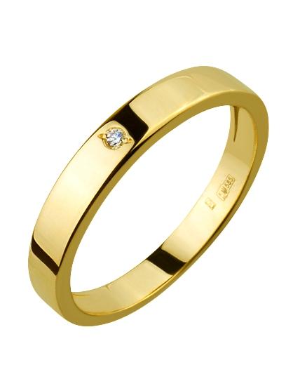 cb9ceeb6a204 Золотое обручальное кольцо с бриллиантом (3к-165)