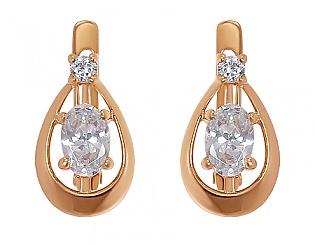 Золоті сережки з фіанітами 1с-030 фотографія