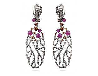 Золоті сережки з діамантами і цитринами і рубінами і сапфірами 2б_с-055 фотографія