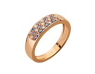 Золотое кольцо с циркониями и шпинелью синтетической 1б_к-057 фотография