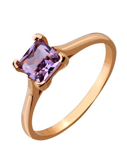 """Золотое кольцо 585 пробы с аметистом (15-000082221) """"Ювелирная карта"""""""