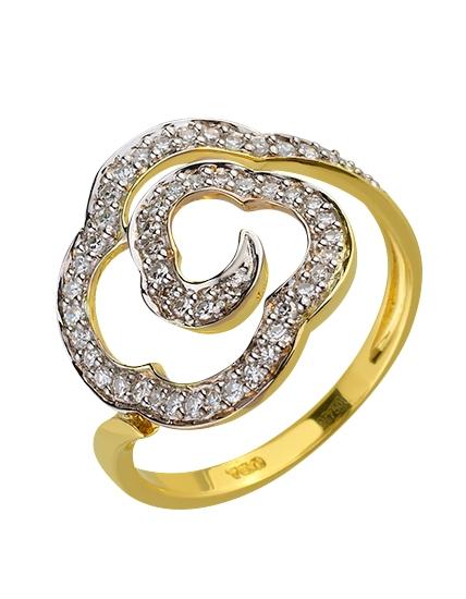 Золота каблучка з діамантами 01-17511019 фотографія