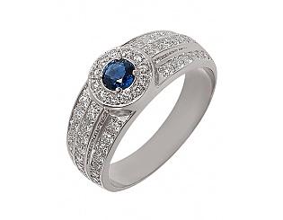 Золотое кольцо 585 пробы с бриллиантами и сапфиром