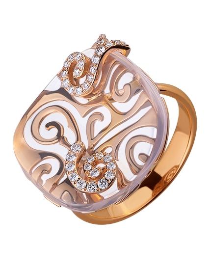 Золота каблучка з діамантами 01-17511020 фотографія