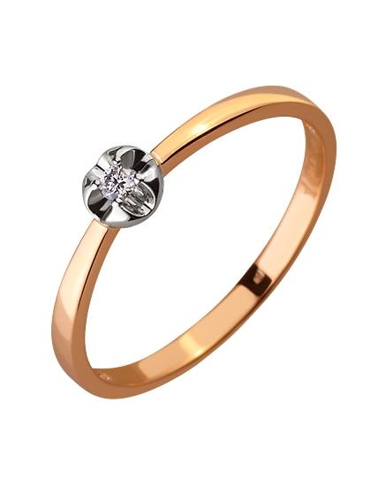 Золотое кольцо с бриллиантом 01-17579020 фотография 1