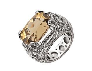 Золота каблучка з діамантами і цитрином 2б_к-162 фотографія