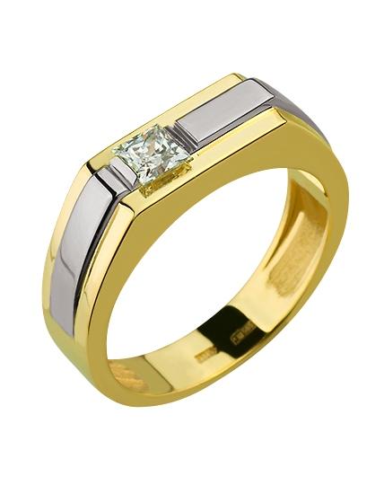 Золотой перстень 585 пробы с фианитом (15-000082620)