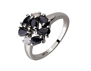 Золотое кольцо с сапфирами и бриллиантами 2к-173 фотография