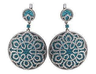 Золоті сережки з діамантами і топазами 2б_с-141 фотографія