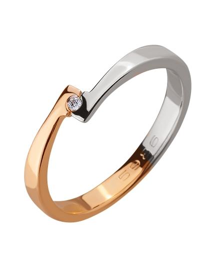 Золота каблучка з діамантами 01-17506422 фотографія