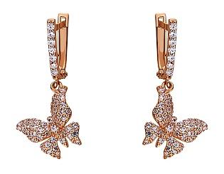 Золоті сережки з цирконіями 01-17520222 фотографія