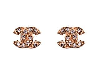 Золоті сережки з цирконієм куб. 01-17635622 фотографія