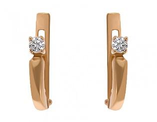 Золоті сережки з фіанітами 1-с-580 фотографія