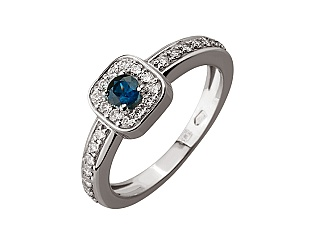 Золотое кольцо с сапфиром и бриллиантами 2б_к-071 фотография