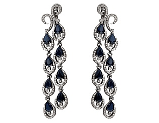 Золоті сережки з сапфіром і діамантами 2б_с-059 фотографія