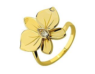 Золота каблучка з діамантом 9б_к-197 фотографія