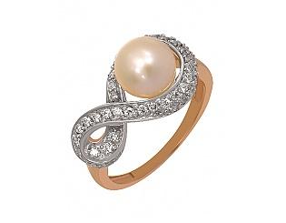 Золотое кольцо с цирконием куб. и жемчугом 8к-175 фотография