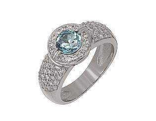 Золотое кольцо с топазом и фианитами 2б_к-050 фотография