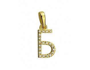 Золотий кулон з фіанітами 3б_п-116 фотографія