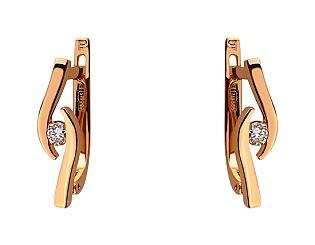 Золотые серьги с бриллиантами 01-17495223 фотография