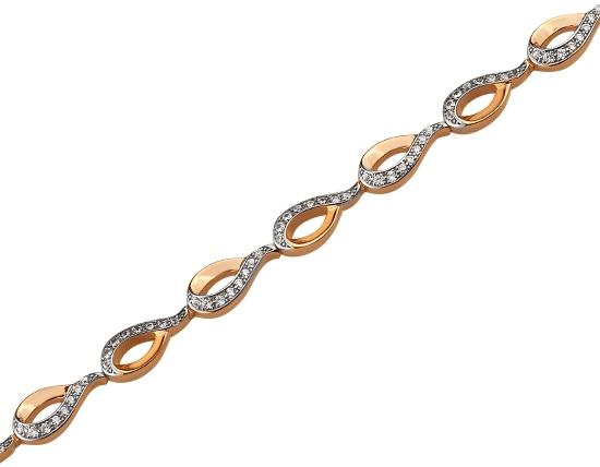 Золотой браслет с цирконием куб. 01-17522523 фотография 1