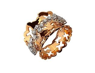 Золота каблучка з діамантами 01-17604123 фотографія
