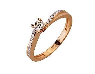 Золота каблучка з діамантами 1б_к-205 фотографія