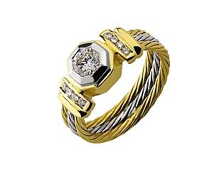 Золота каблучка з діамантами 01-17479224 фотографія
