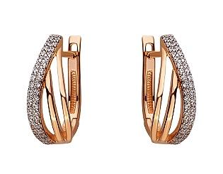 Золоті сережки з цирконієм куб. 01-17548024 фотографія