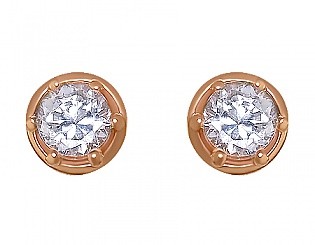 Золоті сережки з фіанітом 1с-003 фотографія