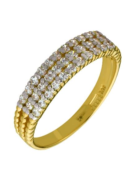 """Золотое кольцо 585 пробы с фианитами (01-16040825) """"Ювелирная карта"""""""