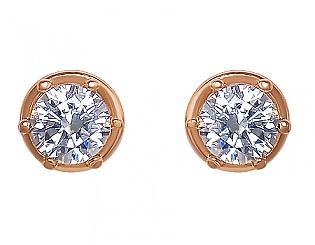Золоті сережки з цирконієм куб. 1-с-800 фотографія