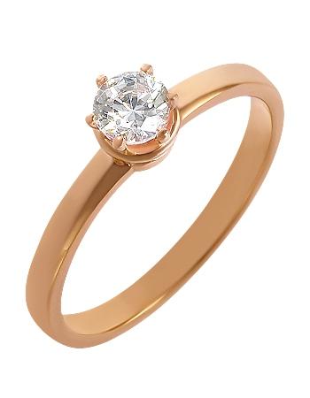 """Золотое кольцо 585 пробы  с фианитом (15-000059253) """"Ювелирная карта"""""""