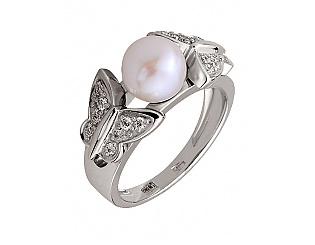 Золотое кольцо с бриллиантами и жемчугом 2б_к-011 фотография
