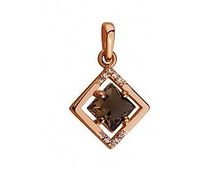Золотой кулон с ювелирным стеклом и цирконием куб. 1б_п-012 фотография