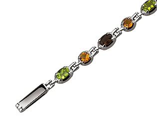 Золотой браслет с перидотами и кварцами и цитринами 2б-026 фотография