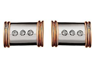 Золотая запонка с бриллиантами 01-17499626 фотография