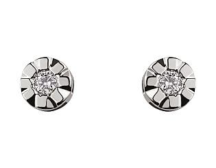 Золоті сережки з діамантом 01-17593026 фотографія