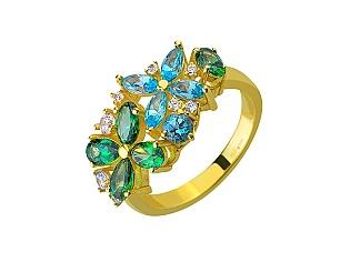 Золотое кольцо с фианитами и топазами 3б_к-159 фотография