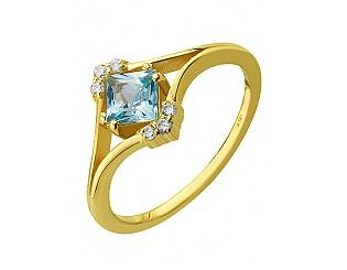 Золотое кольцо с топазами и циркониями 3б_к-116 фотография
